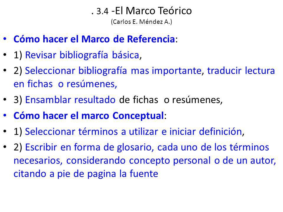 . 3.4 -El Marco Teórico (Carlos E. Méndez A.)