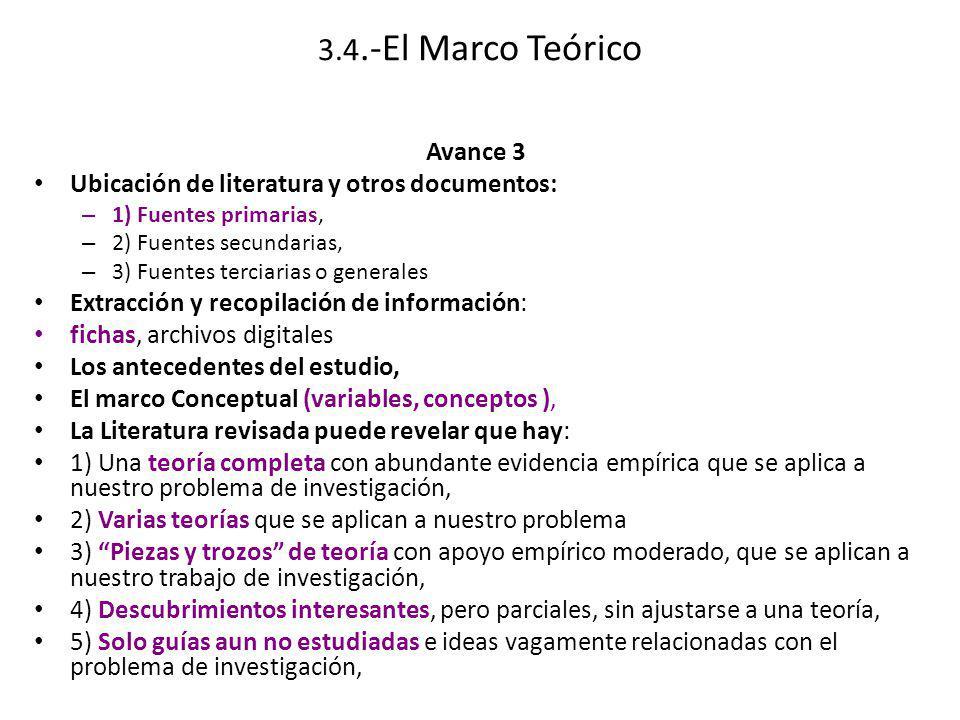 3.4.-El Marco Teórico Avance 3