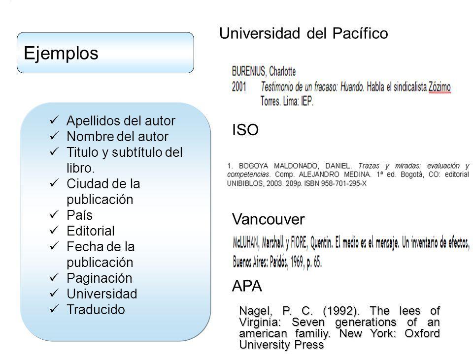 Ejemplos Universidad del Pacífico ISO Vancouver APA