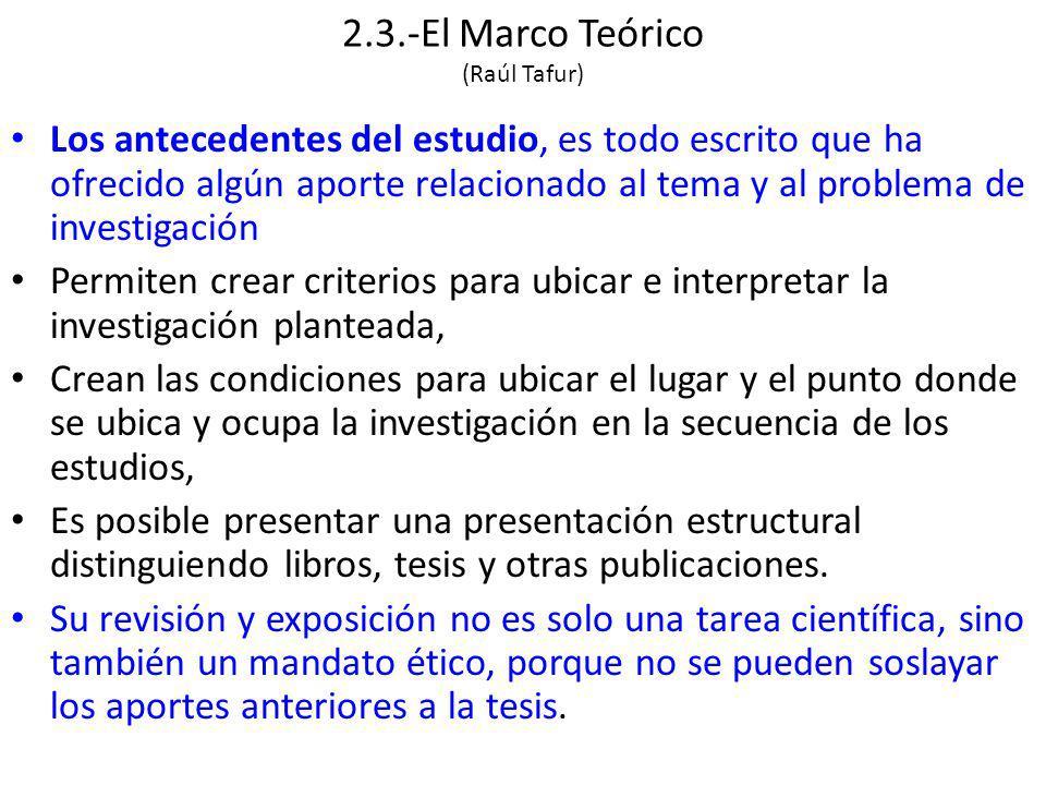 2.3.-El Marco Teórico (Raúl Tafur)