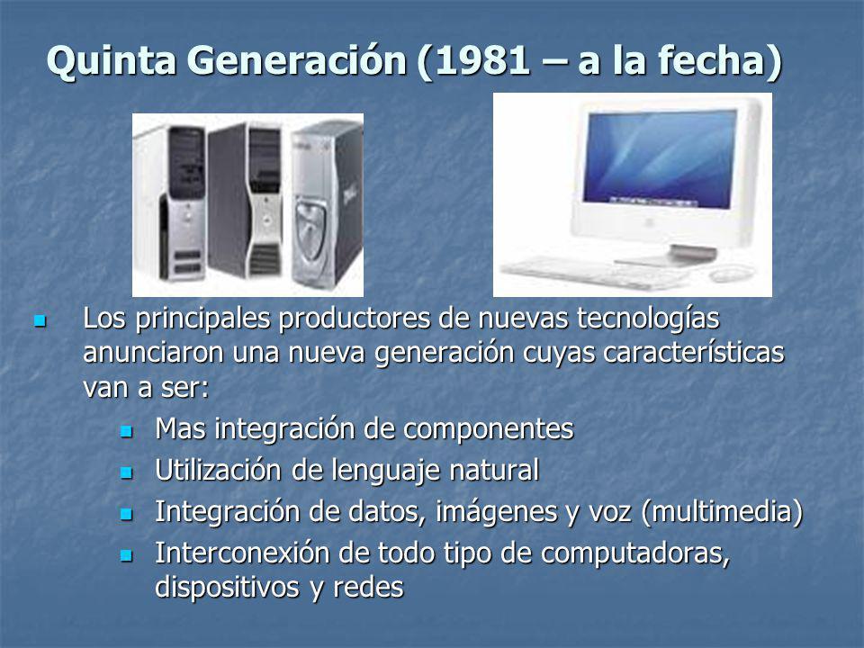 Quinta Generación (1981 – a la fecha)
