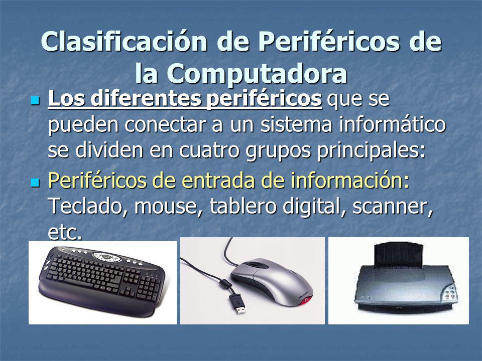 Clasificación de Periféricos de la Computadora
