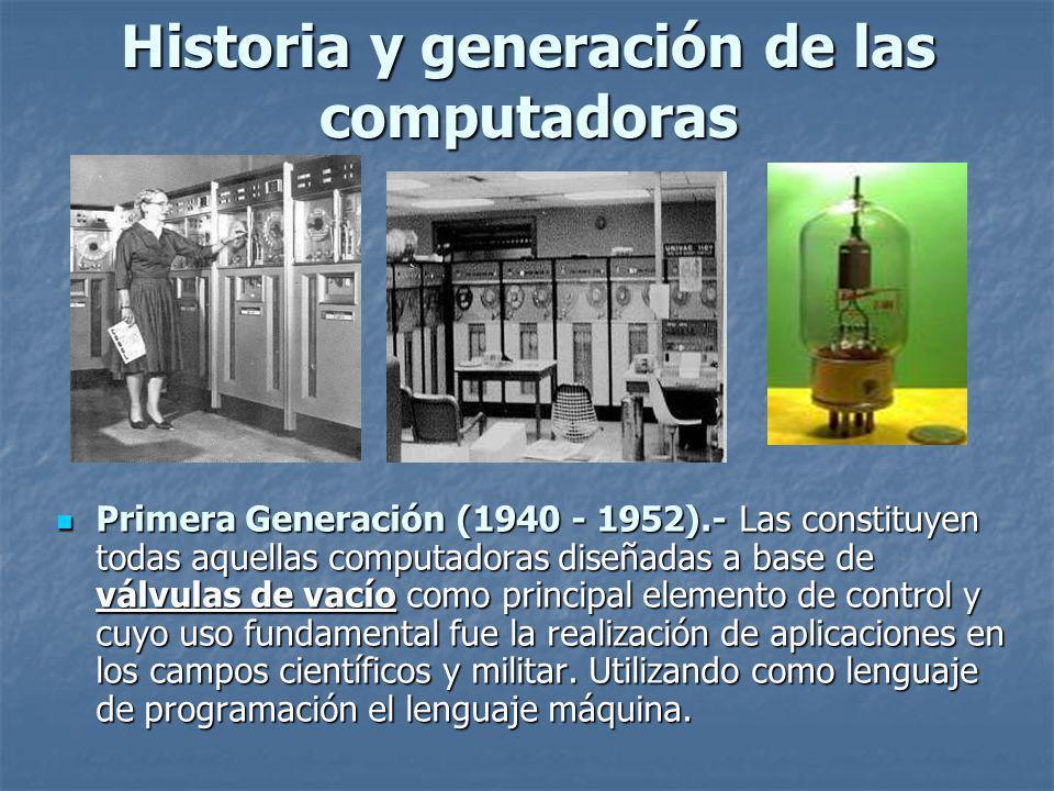 Historia y generación de las computadoras