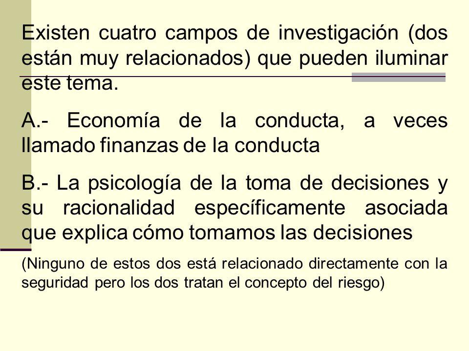 A.- Economía de la conducta, a veces llamado finanzas de la conducta
