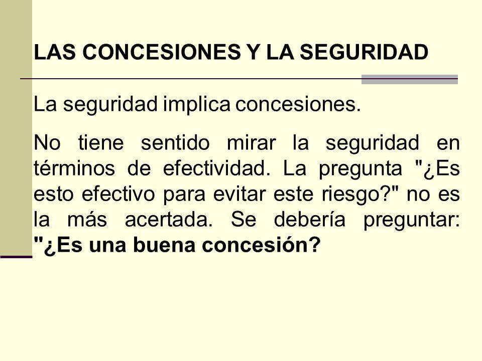 LAS CONCESIONES Y LA SEGURIDAD La seguridad implica concesiones.