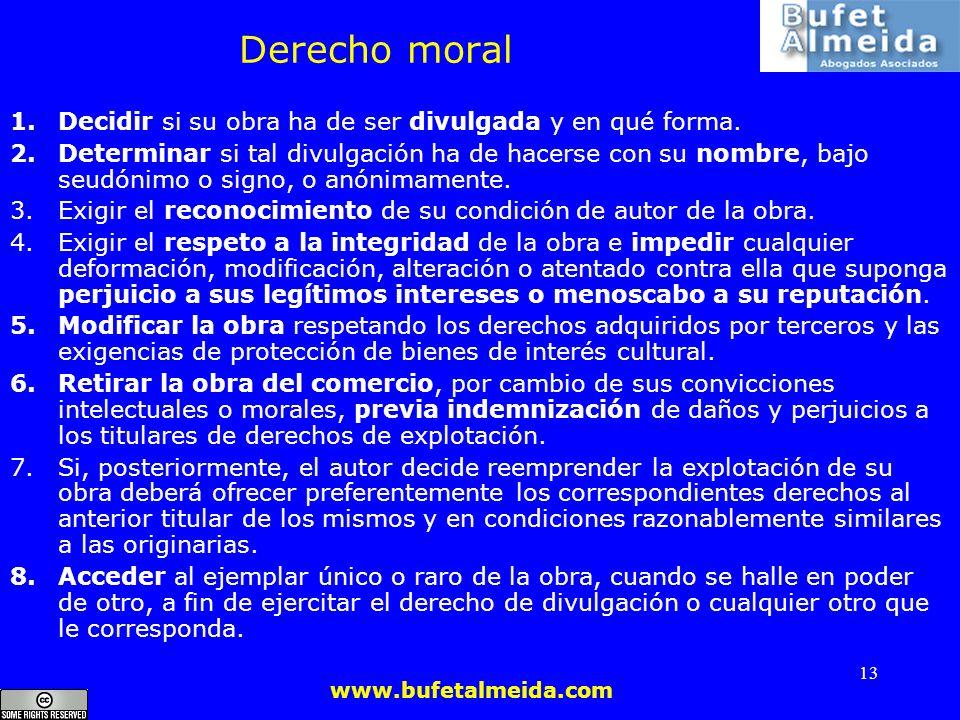 Derecho moral Decidir si su obra ha de ser divulgada y en qué forma.