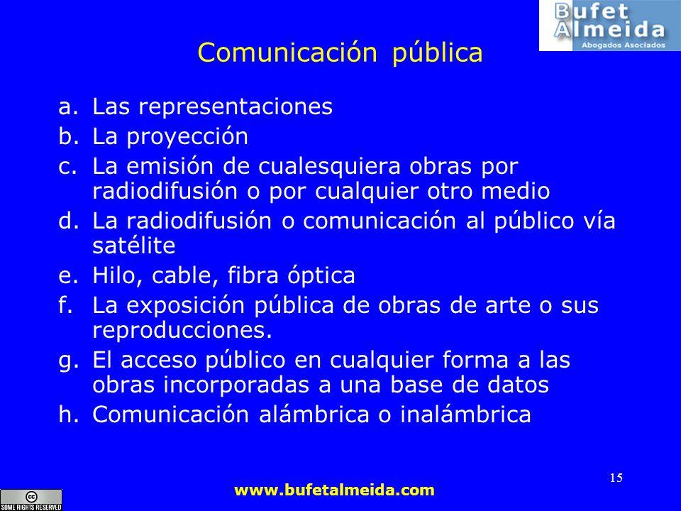 Comunicación pública Las representaciones La proyección