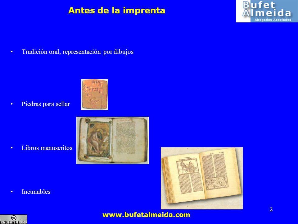 Antes de la imprenta Tradición oral, representación por dibujos