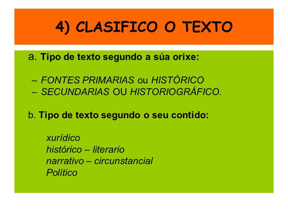 4) CLASIFICO O TEXTO a. Tipo de texto segundo a súa orixe: