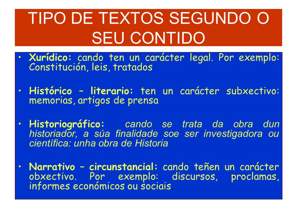 TIPO DE TEXTOS SEGUNDO O SEU CONTIDO