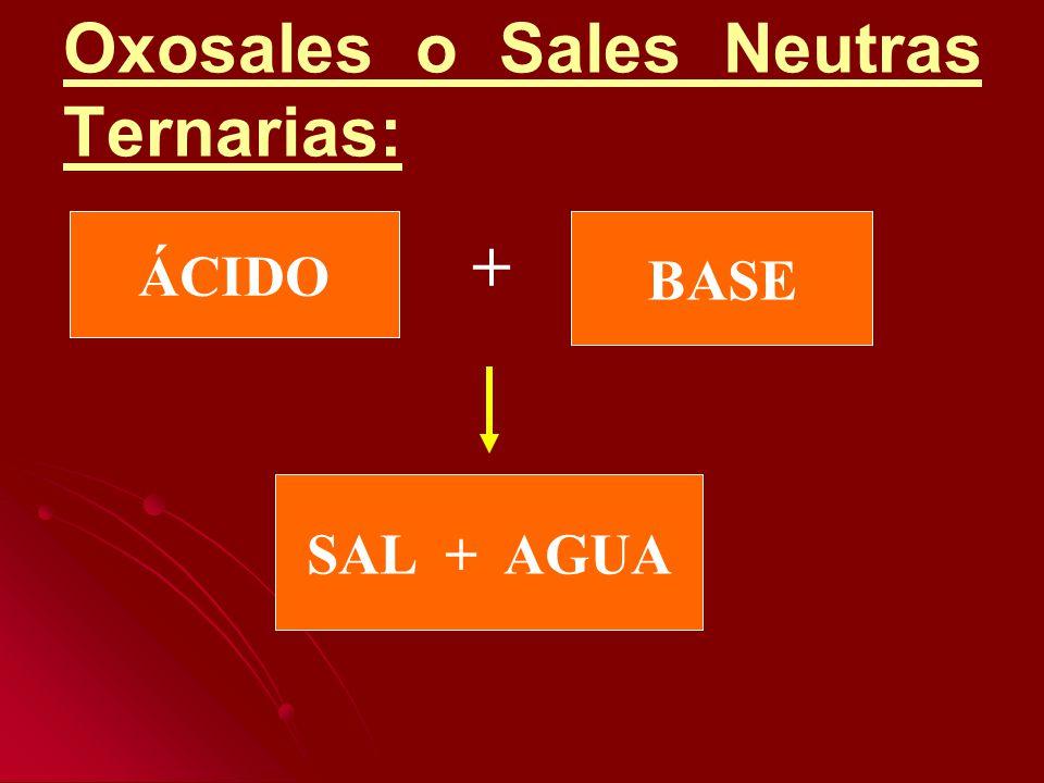 Oxosales o Sales Neutras Ternarias: