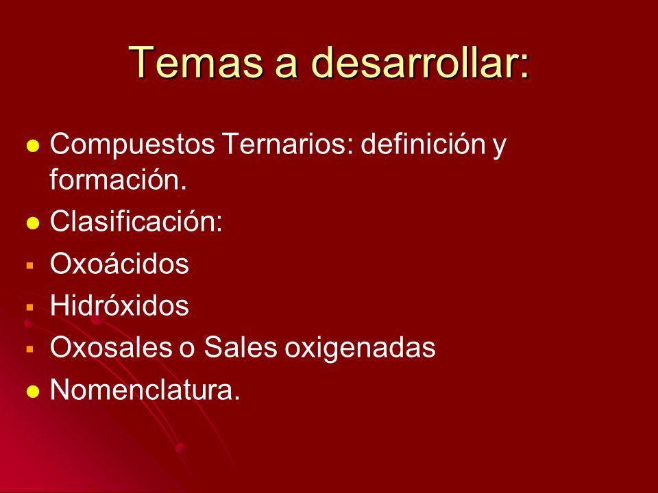 Temas a desarrollar: Compuestos Ternarios: definición y formación.