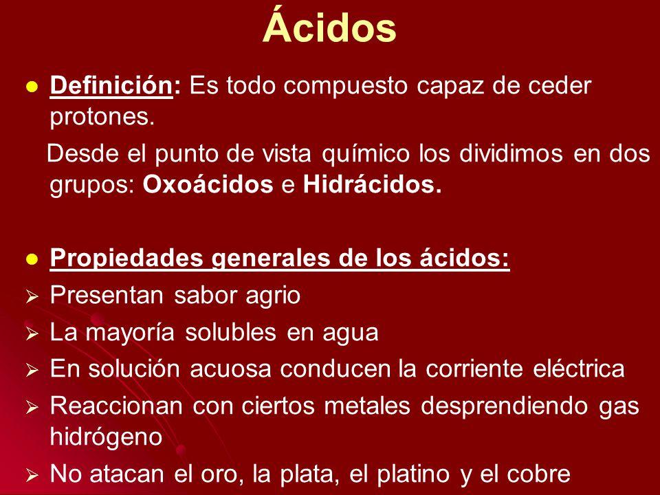 Ácidos Definición: Es todo compuesto capaz de ceder protones.