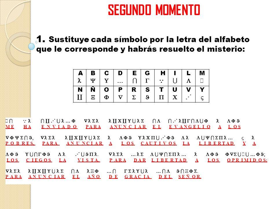 SEGUNDO MOMENTO 1. Sustituye cada símbolo por la letra del alfabeto que le corresponde y habrás resuelto el misterio: