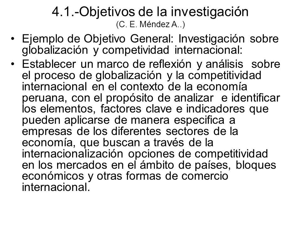 4.1.-Objetivos de la investigación (C. E. Méndez A..)