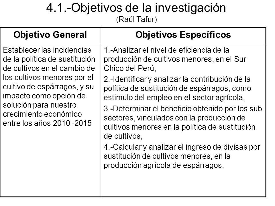4.1.-Objetivos de la investigación (Raúl Tafur)