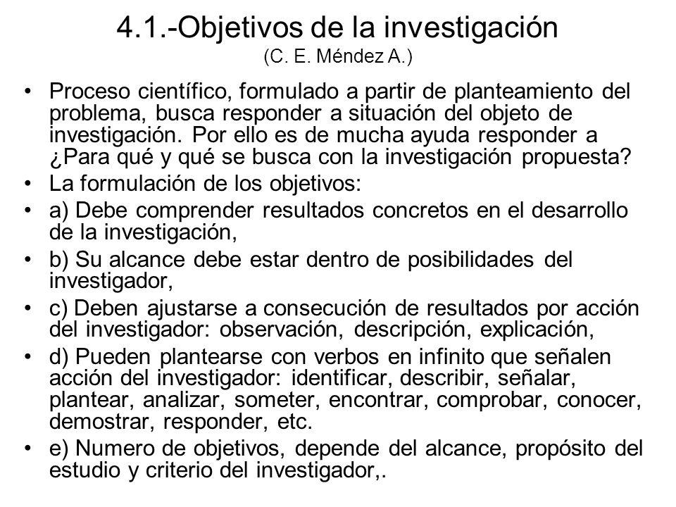 4.1.-Objetivos de la investigación (C. E. Méndez A.)