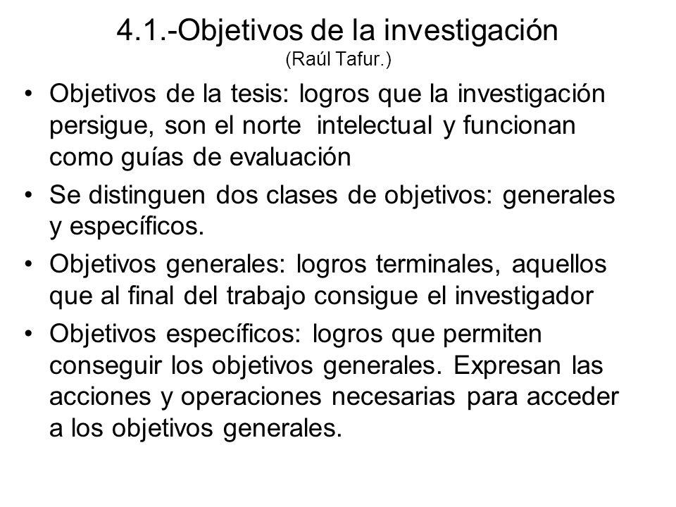 4.1.-Objetivos de la investigación (Raúl Tafur.)