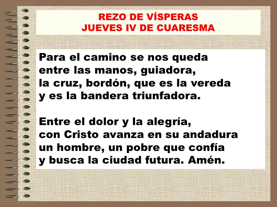 REZO DE VÍSPERAS JUEVES IV DE CUARESMA.