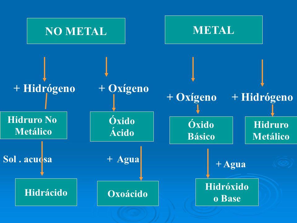 METAL NO METAL + Hidrógeno + Oxígeno + Oxígeno + Hidrógeno Hidruro No