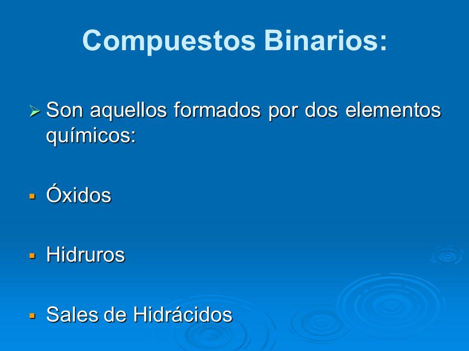 Compuestos Binarios: Son aquellos formados por dos elementos químicos: