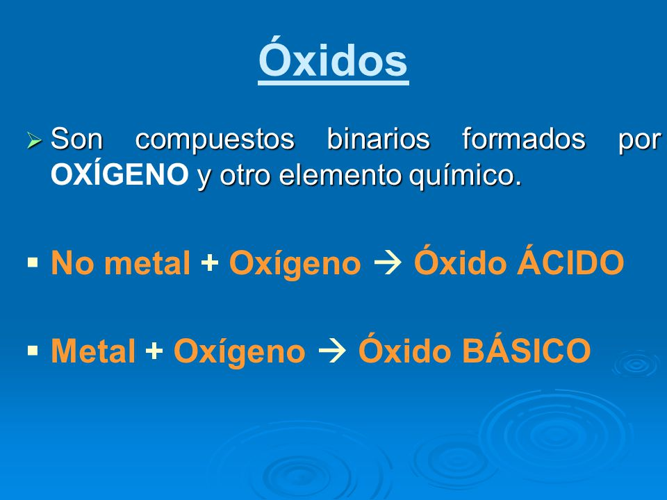 Óxidos No metal + Oxígeno  Óxido ÁCIDO Metal + Oxígeno  Óxido BÁSICO