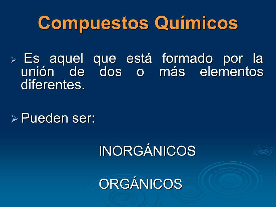 Compuestos Químicos Pueden ser: INORGÁNICOS ORGÁNICOS