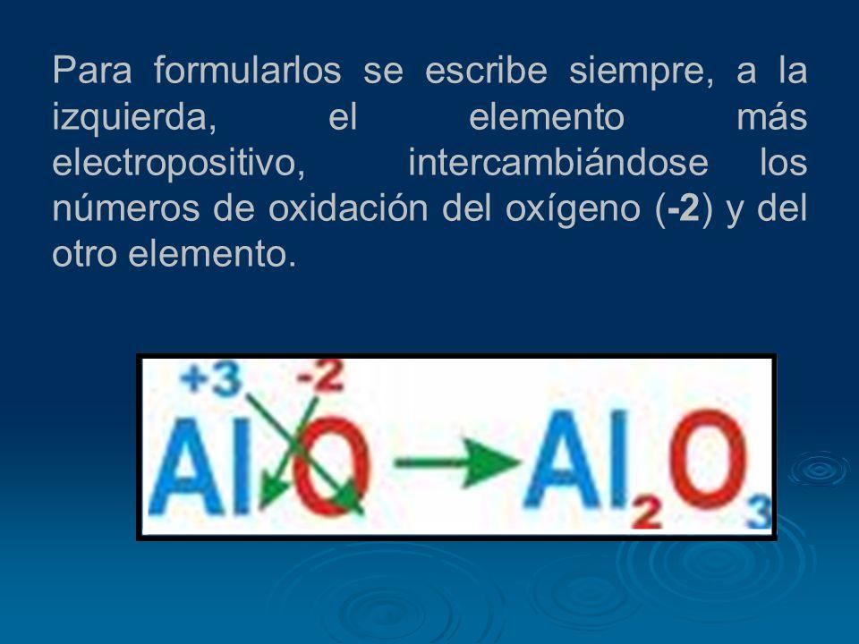 Para formularlos se escribe siempre, a la izquierda, el elemento más electropositivo, intercambiándose los números de oxidación del oxígeno (-2) y del otro elemento.