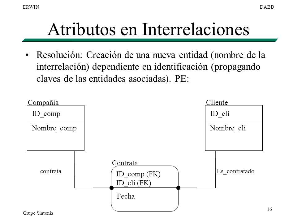 Atributos en Interrelaciones