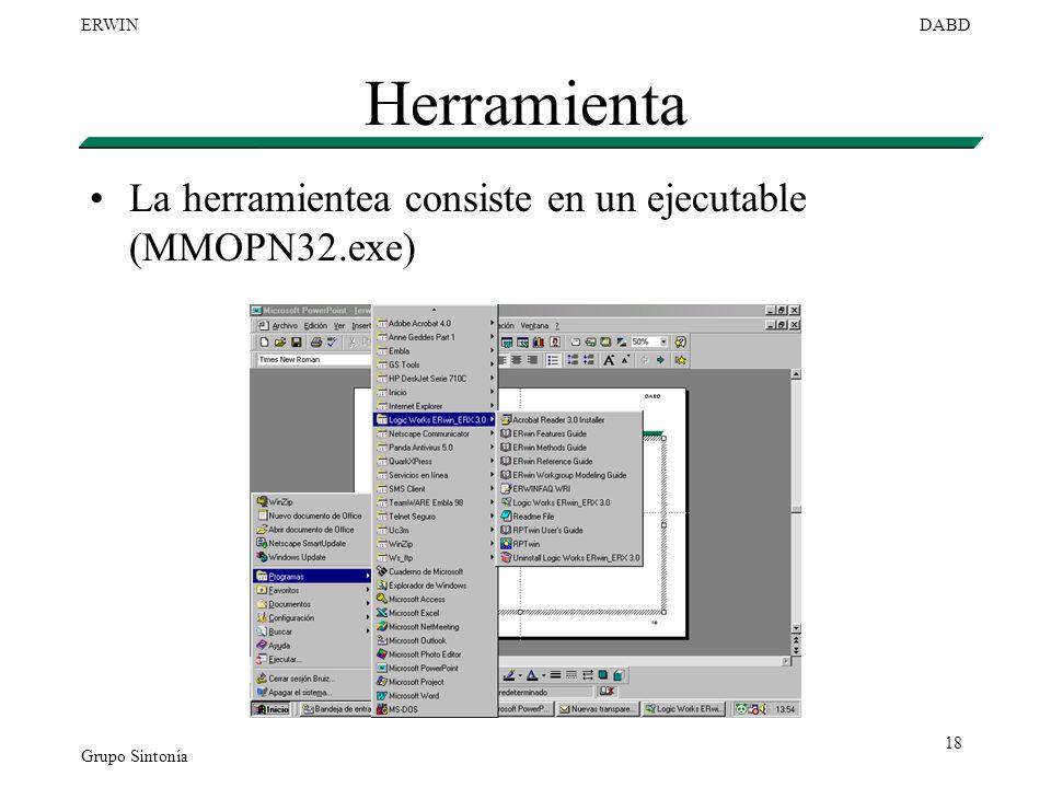 Herramienta La herramientea consiste en un ejecutable (MMOPN32.exe)