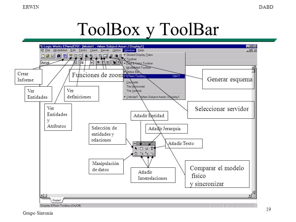 ToolBox y ToolBar Funciones de zoom Generar esquema