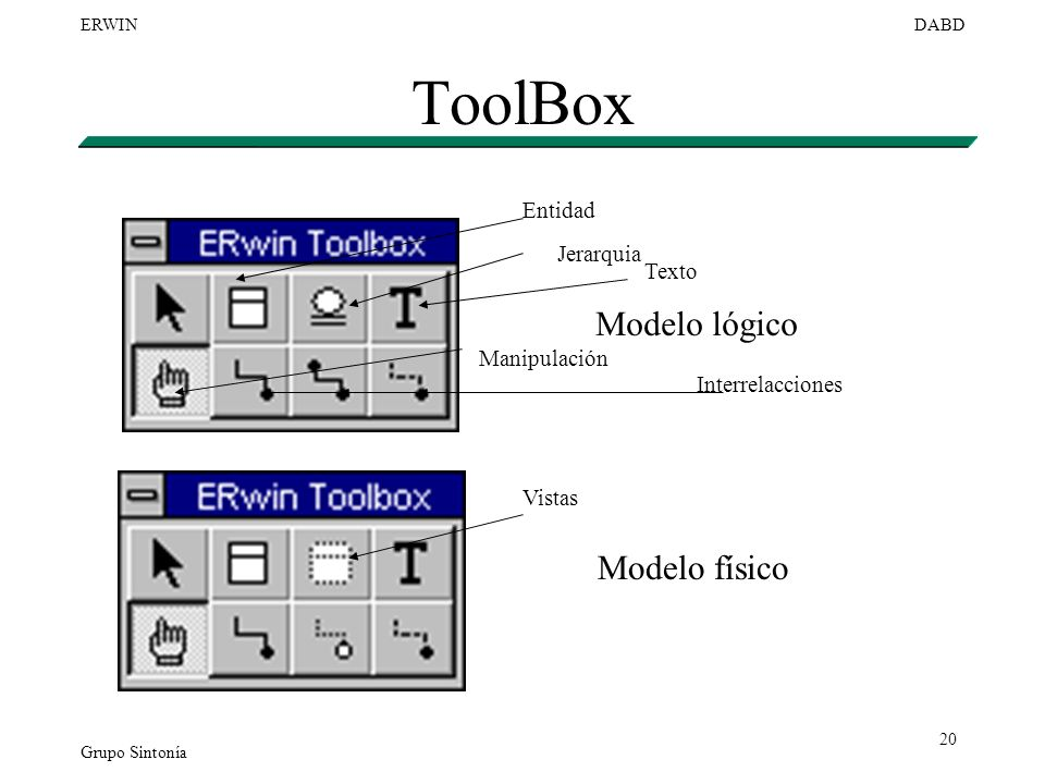 ToolBox Modelo lógico Modelo físico Entidad Jerarquia Texto