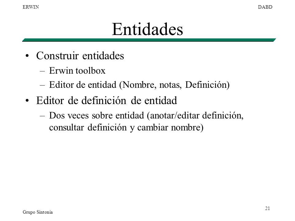 Entidades Construir entidades Editor de definición de entidad
