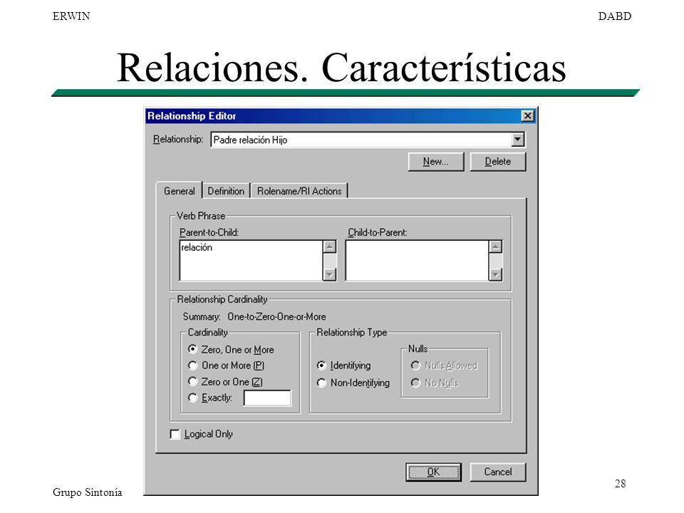 Relaciones. Características