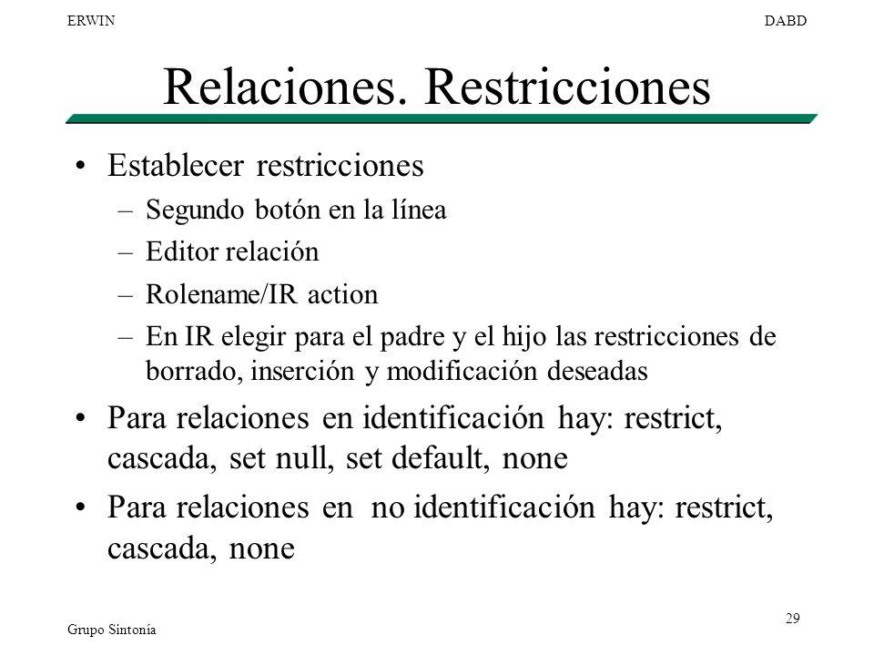 Relaciones. Restricciones