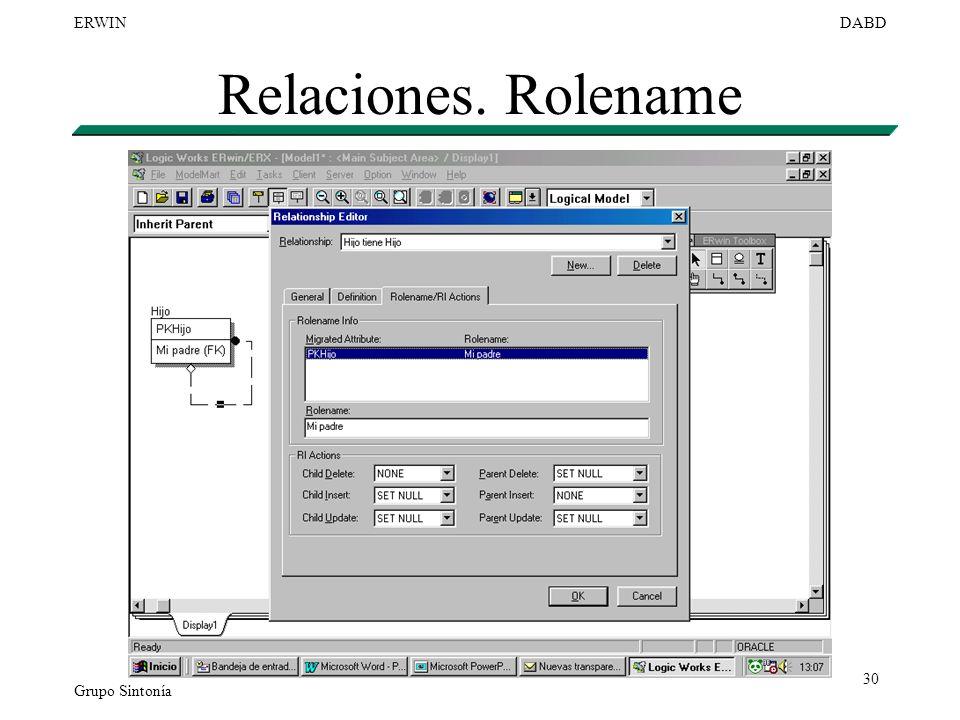 Relaciones. Rolename