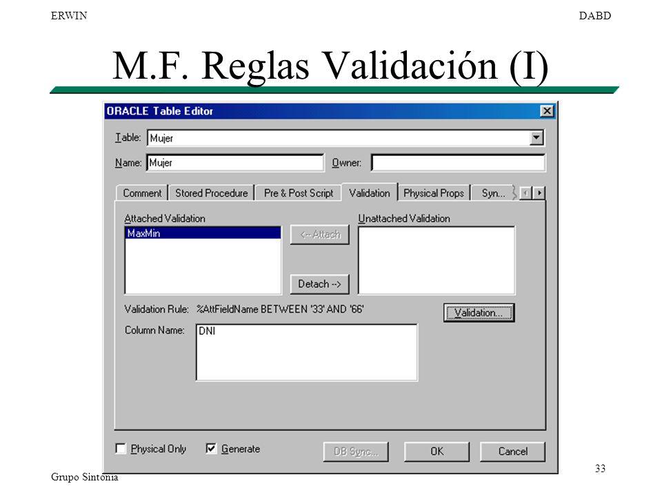 M.F. Reglas Validación (I)