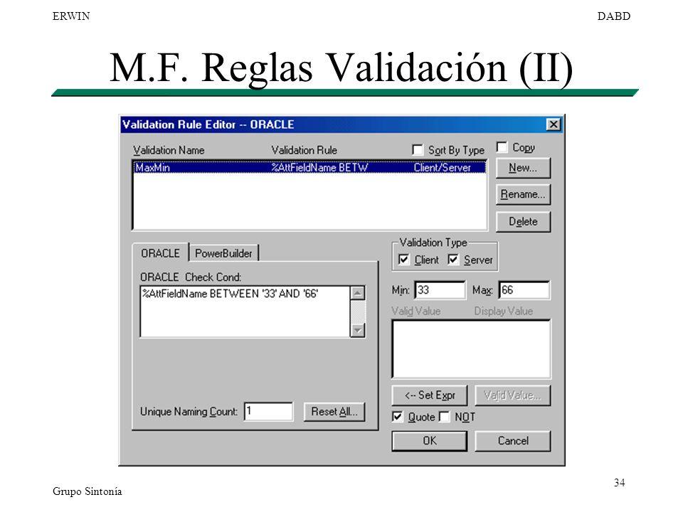 M.F. Reglas Validación (II)