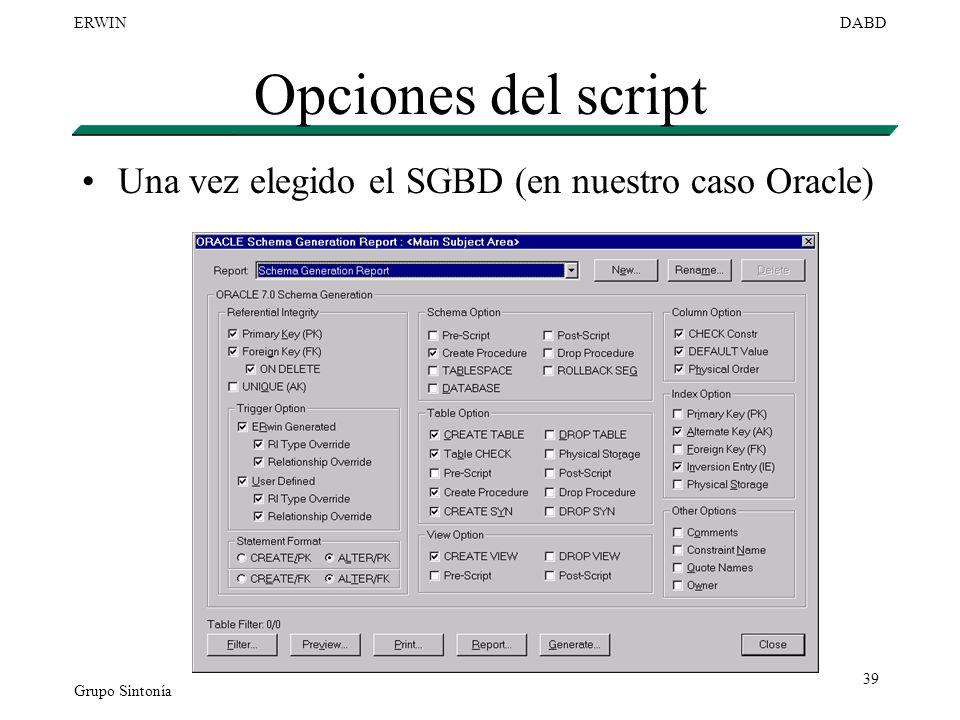 Opciones del script Una vez elegido el SGBD (en nuestro caso Oracle)