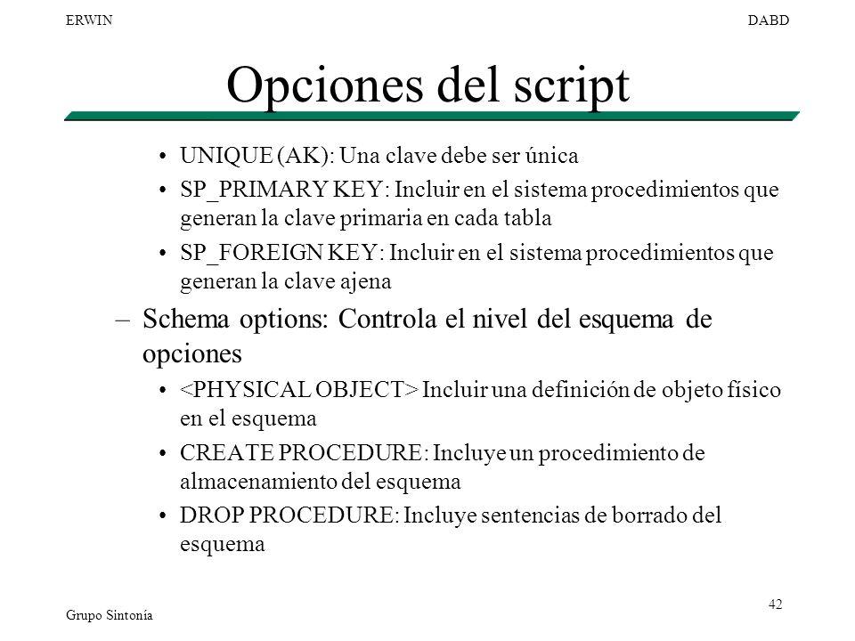 Opciones del script UNIQUE (AK): Una clave debe ser única.