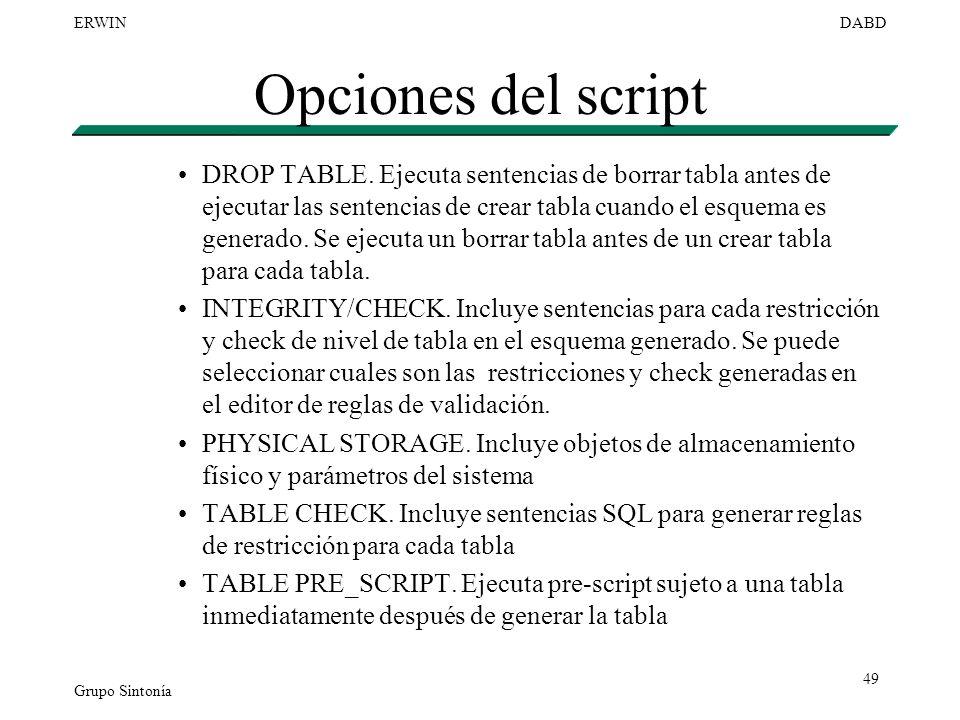 Opciones del script