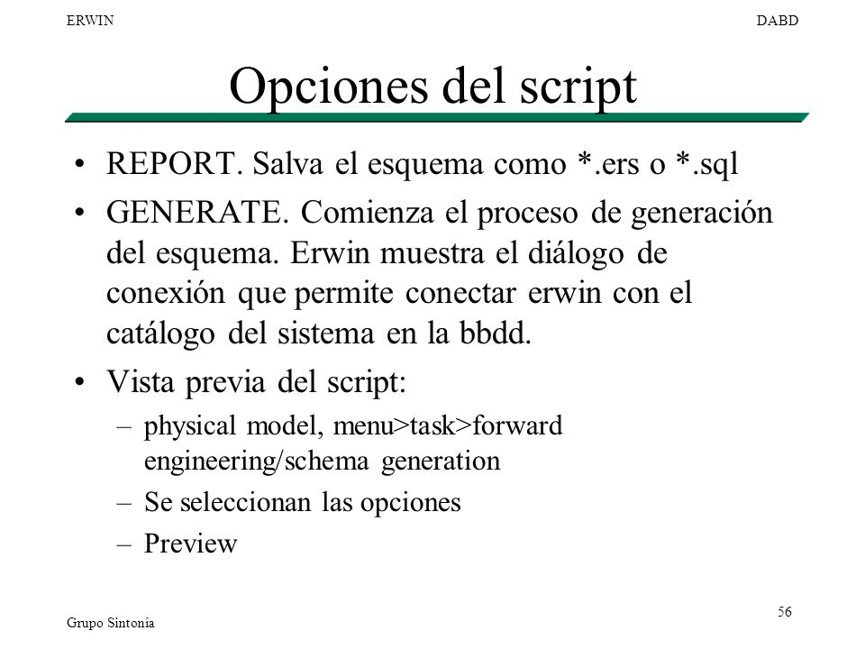 Opciones del script REPORT. Salva el esquema como *.ers o *.sql