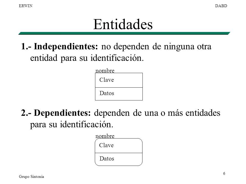 Entidades 1.- Independientes: no dependen de ninguna otra entidad para su identificación.
