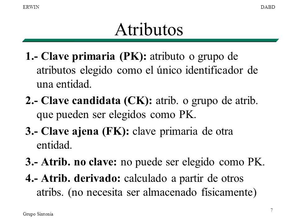 Atributos 1.- Clave primaria (PK): atributo o grupo de atributos elegido como el único identificador de una entidad.