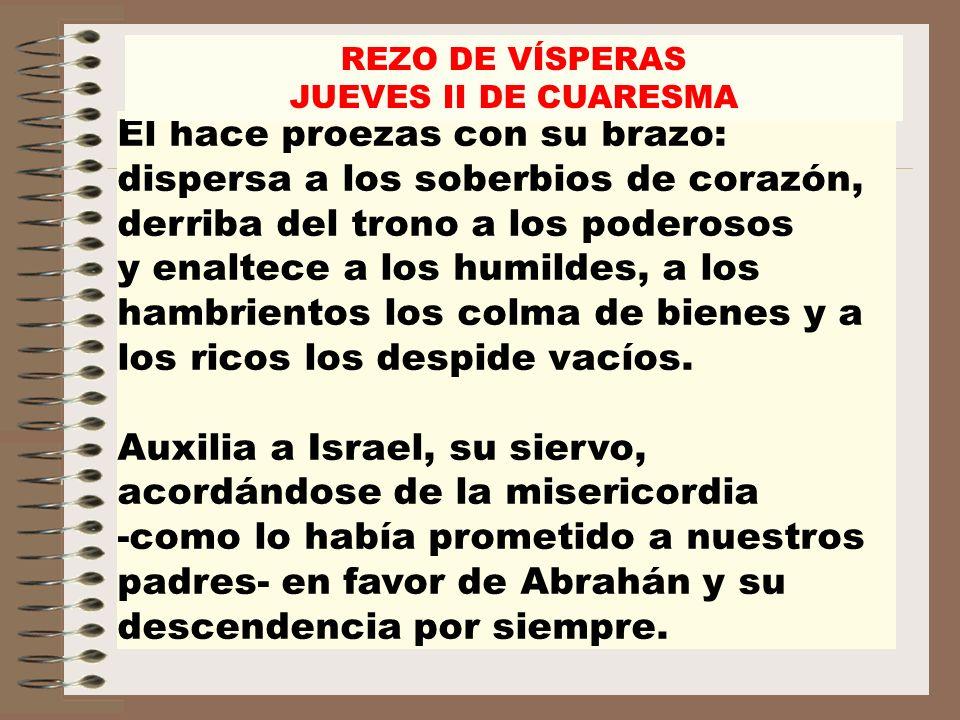 REZO DE VÍSPERASJUEVES II DE CUARESMA.