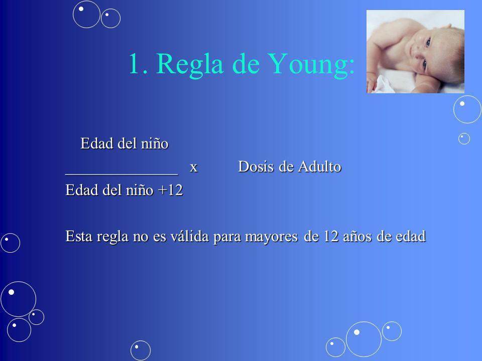 1. Regla de Young: Edad del niño ______________ x Dosis de Adulto