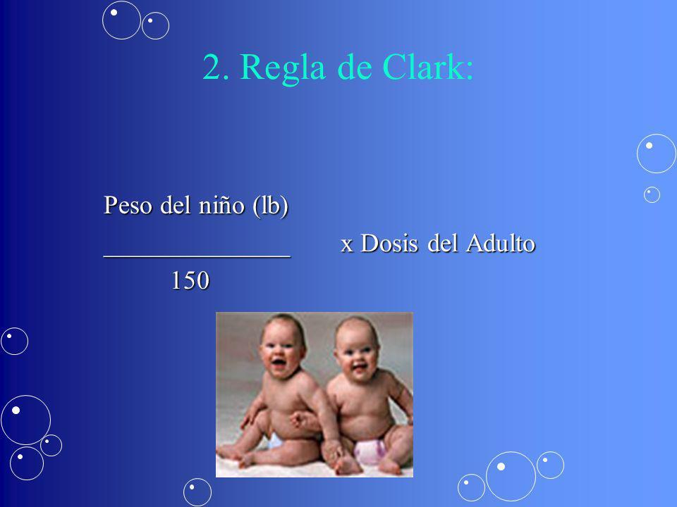 2. Regla de Clark: Peso del niño (lb)