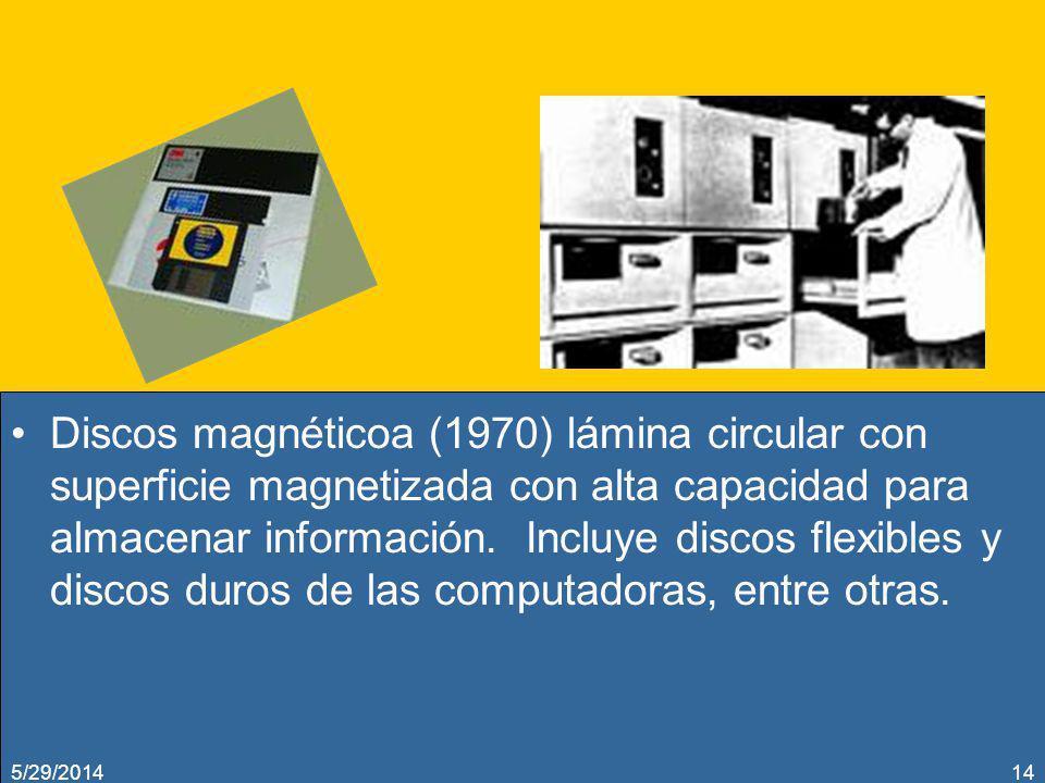 Discos magnéticoa (1970) lámina circular con superficie magnetizada con alta capacidad para almacenar información. Incluye discos flexibles y discos duros de las computadoras, entre otras.