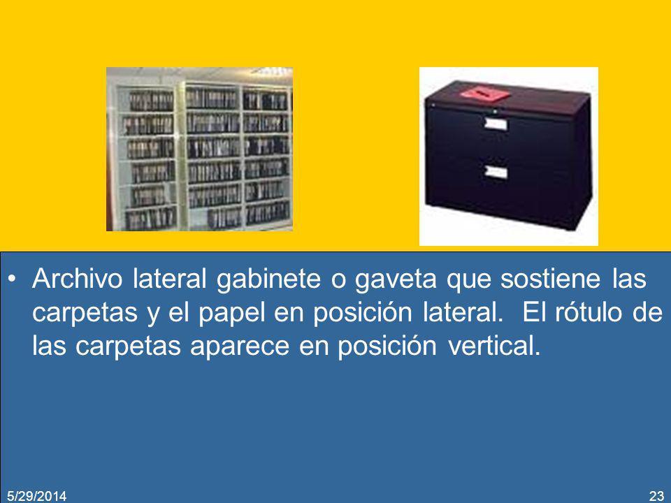 Archivo lateral gabinete o gaveta que sostiene las carpetas y el papel en posición lateral. El rótulo de las carpetas aparece en posición vertical.