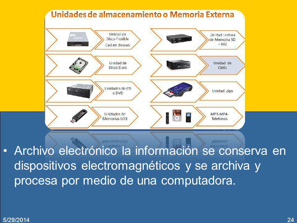 Archivo electrónico la información se conserva en dispositivos electromagnéticos y se archiva y procesa por medio de una computadora.